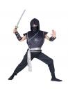 Déguisement Ninja garçon noir et gris (gilet avec armure, pantalon, ceinture, coudières, cagoule)