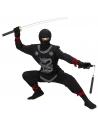 Déguisement Ninja enfant, noir (casaque avec liens, pantalon avec liens, cuirasse, cagoule)
