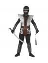 Costume NINJA  (haut, pantalon, tabard, ceinture, protège-bras, protège-jambes, cagoule)