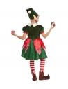 Déguisement Lutin, assistante du Père Noël (robe, bonnet avec oreilles et nattes)