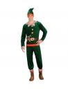 Déguisement Assistant du Père Noël Homme, rouge et vert (veste, pantalon, sur-chaussures, bonnet avec oreilles)