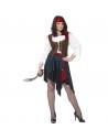 Déguisement pirate femme (chemise avec gilet incorporé' jupe, ceinture et bandeau)