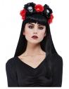 Serre-tête jour des morts femme, rouge et noir (crâne et roses)