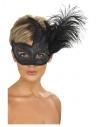 Masque orné de Colombine avec plume, noir