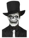 Prothèse en mousse latex, visage de squelette, Blanc, 2 parties avec mâchoire mobile et adhésif