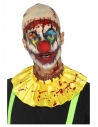 Kit instantané clown effrayant en latex, Jaune, avec crâne chauve, collerette et plaie cou tranché attachée