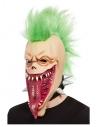 Masque intégral crâne punk, latex, avec cheveux
