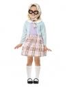 Déguisement de vieille dame, Bleu (Robe, foulard et lunettes - 1 à 4 ans)