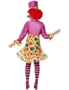 Déguisement femme clown multicolore (robe cercle, chemise, noeud papillon, collants à rayures et chapeau)