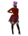 Déguisement chapelière multicolore (veste, gilet fixe, jupe et chapeau)