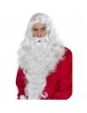 Perruque longue Père Noël blanche avec barbe | Accessoires