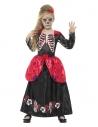 Déguisement fille Dia de los muertos (robe longue et serre-tête avec fleur rouge)