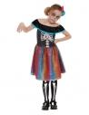 Costume fille Jour des morts fluo, Multicolore (robe et bandeau)