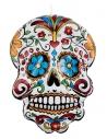 Crâne qui pend gonflable du Jour des morts, Blanc, avec imprimé floral