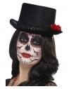 Chapeau haut de forme jour des morts noir avec une rose rouge pour adulte ( Mixte) | Accessoires