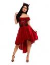 Déguisement jour des morts femme rouge (robe asymétrique et bandeau)