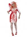 Déguisement infirmière zombie ensanglantée (grandes tailles,robe & tiare ensanglantées)