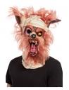 Masque momie tête de loup-garou, latex, avec cheveux