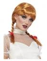 Perruque poupée en porcelaine, auburn, avec tresses et rubans