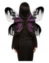 Ailes de papillon de nuit noires, Violet, 65 cm avec paillettes
