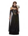 Déguisement Gothique femme noir (robe bustier, manches longue et col en dentelle)