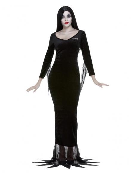 Extra Long Morticia Perruque Adams Famille Halloween perruque robe fantaisie NOIR /& ARGENT