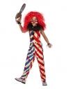 Déguisement de clown effrayant, fille (haut, pantalon, masque et collerette)