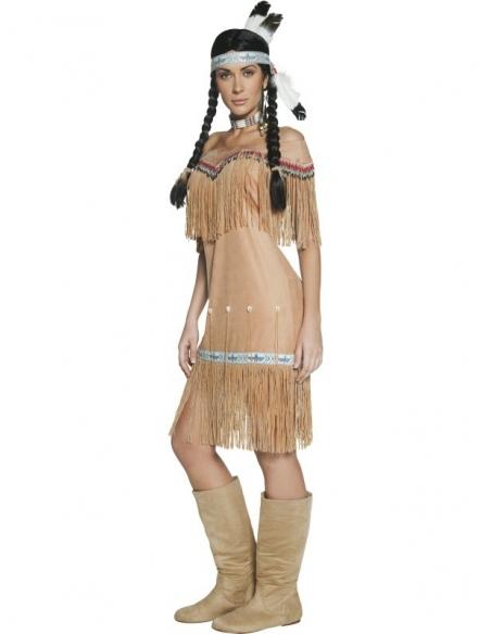Déguisement indienne beige authentique western   Déguisement
