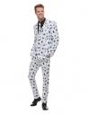 Costume blanc pour homme, imprimé insectes (veste, pantalon, cravate)