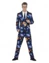 Costume Sexy homme bleu, motifs l'espace (veste, pantalon, cravate)