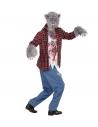 Déguisement LOUP-GAROU, Homme, rouge (chemise avec T-shirt, pantalon, gants, masque)
