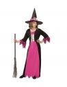 Déguisement sorcière fille, rose et noir (robe, chapeau)
