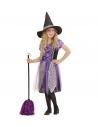 Déguisement de Sorcière fille violet, noir et argent(robe et chapeau)