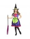 Déguisement de Sorcière fille, multicolore (robe avec gros nœud vert, chapeau)