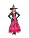 Déguisement de Sorcière fille du moyen âge (robe noire et rose, chapeau, ceinture)