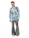 Veste de carnaval, Blanc et bleu, avec imprimé floral et bordures fantaisie, homme