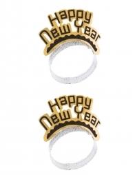 2 diadèmes happy  new  year or et noir