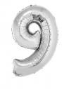 Ballon métallisé argenté chiffre-9- taille 80cm