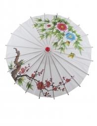 Ombrelle chinoise en papier avec motifs en couleurs - 60cm