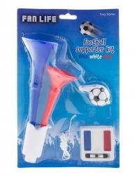 Set, bleu, blanc, rouge pour supporter - France (sifflet, maquillage et Klaxon)