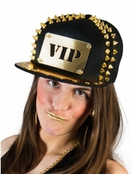 Casquette VIP noir avec plaque et clous or