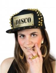 Casquette noire avec plaque disco et clous or