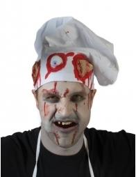 Toque de chef tachée de sang pour Halloween (parties du corps en plastiques)