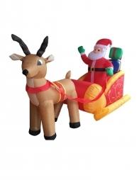 Père Noël sur traîneau gonflable avec 3 Led