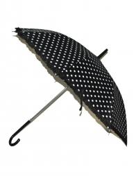 Parapluie noir à pois blancs 63cm