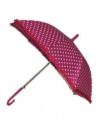 Parapluie fushia à pois blancs 63cm