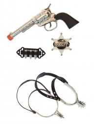 Set Cowboy enfant (éperons, pistolet, balles et insigne de sheriff)