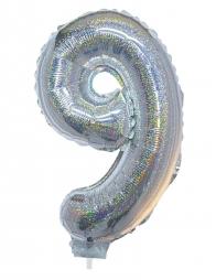 Ballon aluminium, numéro 9 (argent holographique, 41cm)