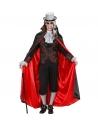 Déguisement homme vampire rouge et noir (chemise avec gilet, jabot, cape)