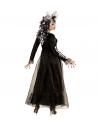 Déguisement squelette femme noir et blanc (robe longue, coiffe)